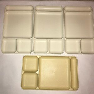 Set Of 4 Compartmental Tupperware Trays
